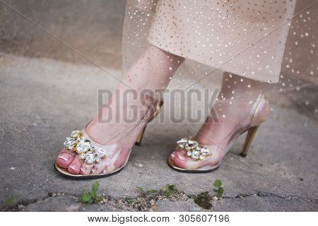 Beautiful Transparent With Butterfly Pin Shoes For The Prom. Prom Ideas