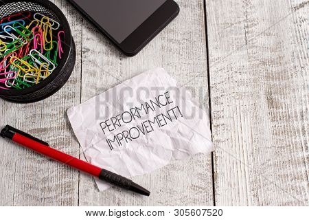 Word writing text Perforanalysisce Improvement. Business concept for Measure and Modify the Output to increase efficiency Wrinkle paper and notebook plus stationary placed above wooden background. poster