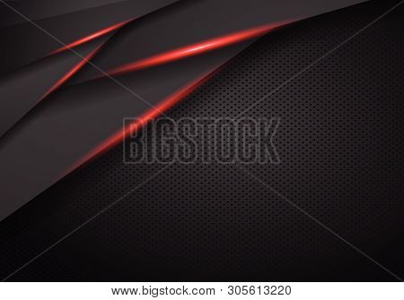 Abstract Metallic Black On Red Frame Design Innovation Concept Layout Background. Vector Illustratio