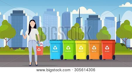 Woman Holding Bucket With Plastic Rubbish Near Containers Different Types Of Recycling Bins Segregat