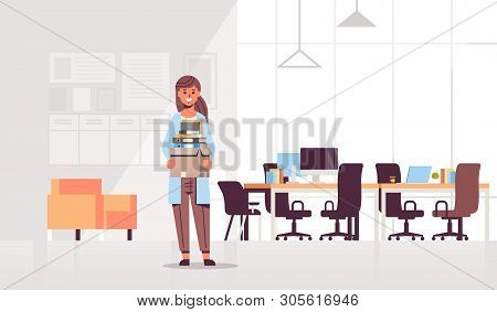Businesswoman Office Worker Holding Box With Stuff Things New Job Business Concept Creative Co-worki