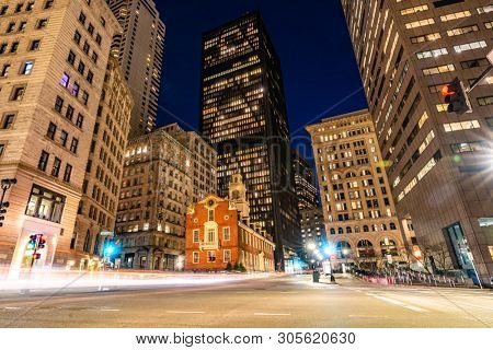 Boston Old State House with boston building skyline at Boston Downtown, MA USA.