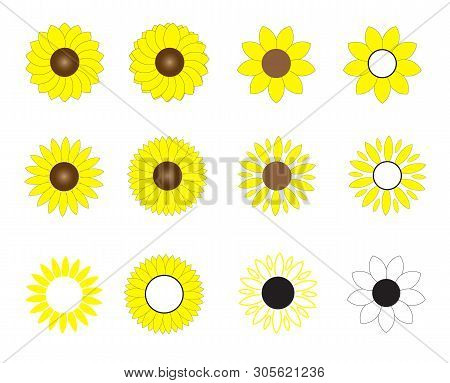 Sunflowers Icon On White Background. Flat Style. Sun Flowers  Icon For Your Web Site Design, Logo, A