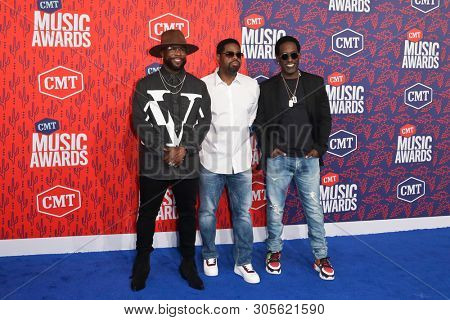 NASHVILLE - JUN 5: (L-R) Wanya Morris, Nathan Morris and Shawn Stockman of Boyz II Men attend the 2019 CMT Music Awards at the Bridgestone Arena on June 5, 2019 in Nashville, Tennessee.