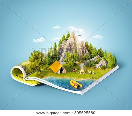 Mountain In Forest, Green Meadow And Camp Tent Near A Lake On Opened Pages Of Magazine. Unusual 3d I