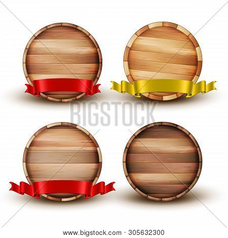 Blank Brown Wooden Barrel For Alcohol Set Vector. Collection Of Barrel For Beer And Lager, Wine And