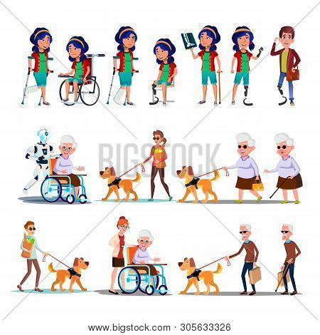Different Character Person Invalid Set Vector. Collection Of Invalid Woman With Broken Leg And Man A