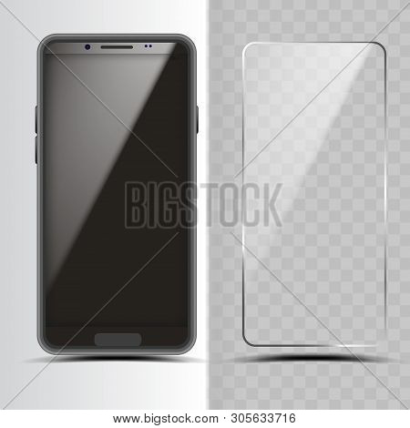 Smartphone And Screen Protector Glass Cover Vector. Transparent Tempered Protector Shield For Mobile