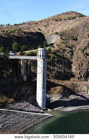 Tower On The Edge Of La Concepcion Reservoir (embalse Del Limonero), Malaga, Costa Del Sol, Malaga P