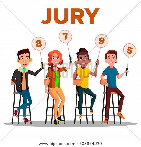 Characters Jury With Sign Boards Show Score Vector. Competition Jury Young Man And Woman Contest Judges Sitting On Chair With Scorecards. Judging People Committee Flat Cartoon Illustration poster