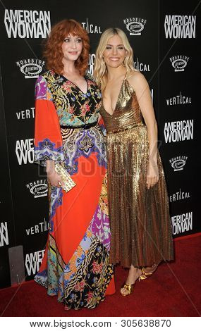 Sienna Miller and Christina Hendricks at the Los Angeles premiere of 'American Woman' held at the ArcLight Cinemas in Hollywood, USA on June 5, 2019.