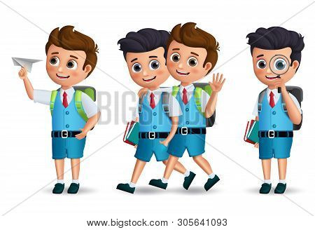 School Boys Vector Character Set. Student Kids Holding School Items Walking And Talking With Classma