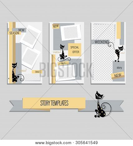 Trend Editable Template Of Cute Black Cats For Funny Stories. Gentle Backgrounds With Cartoon Charac