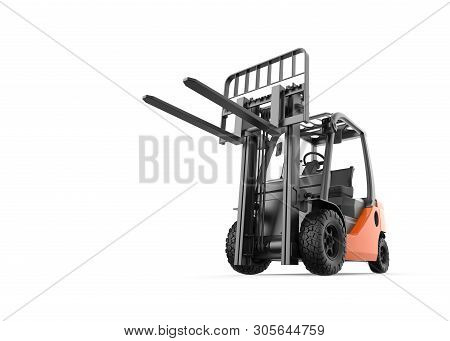 Forklift Isolated On A White Background: 3d Illustration