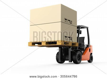 Forklift With Boxes On A White Background: 3d Illustration