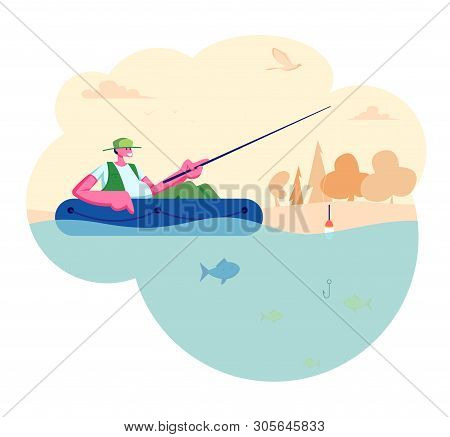 Man Fishing In Boat On Calm Lake Or River At Summer Day. Relaxing Summertime Hobby, Fishman Sitting