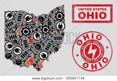 Composition Of Mosaic Power Supply Ohio State Map And Grunge Seals. Collage Vector Ohio State Map Is