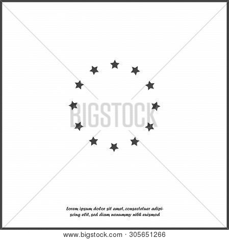 Vector Star Icon In A Circle. Circle Consisting Of Stars On White Isolated Background.