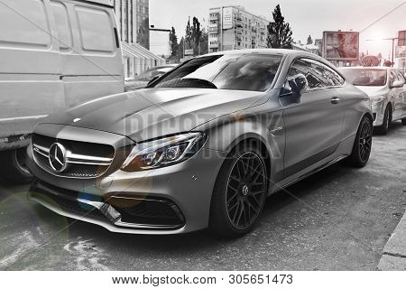 Kiev, Ukraine - March 6, 2017: Mercedes-benz S 63 Amg. Black And White Photo With A Color Effect Of