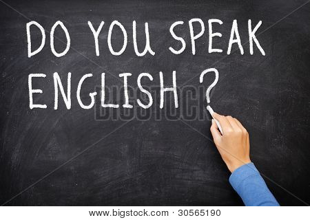 Learning language - English. Blackboard education concept saying Do You Speak English? written on Chalkboard.