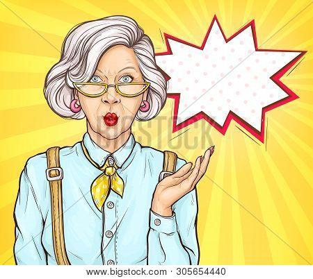 Pop Art Old Woman With Surprised Wow Face Expression, Grandmother, Senior Fashioned Lady Portrait Wi