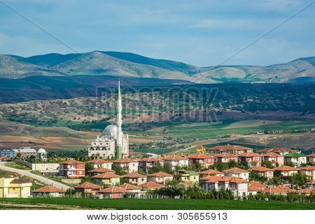 Alcili, Turkey - May 3, 2017. Village Alcili With Silver Mosque In Kirikkale Province
