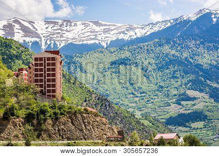 Ozkurtun, Turkey - May 7, 2017. Mountains With Snow On The Top Near To Village Ozkurtun