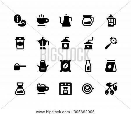 Simple Set Of Coffee Shop Related Vector Glyph Icons. Contains Such Icons Asbeans, Cup, Kettle, Gri