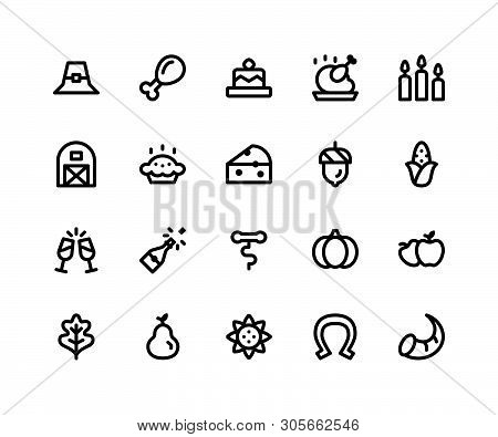 Simple Set Of Thanksgiving Related Vector Line Icons. Contains Such Icons As pilgrim Hat, Chicken Wi