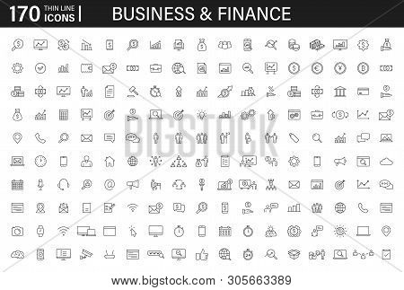Big Set Of 170 Business And Finance Web Icons In Line Style. Money, Bank, Contact, Infographic. Icon