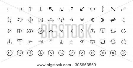 Arrows Big Black Set Icons In Line Style. Arrow Icon. Arrow Vector Collection. Arrow. Cursor. Modern