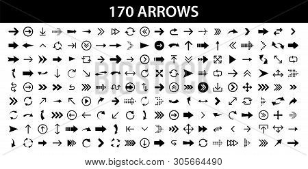 Arrows Set Of 170 Black Icons. Arrow Icon. Arrow Vector Collection. Arrow. Cursor. Modern Simple Arr