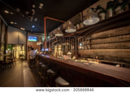 Blur Bar Counter With Defocused Background And Bottles Of Restaurant, Bar Or Cafeteria Background,re