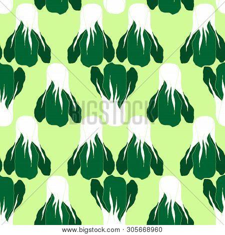 Seamless Pattern With  Bok Choi, Also Pak-choi, Chinese Kale. Vegetarian Food In Modern Flat Desigh.