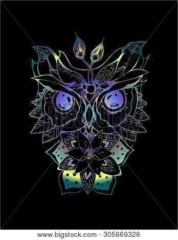Neon Illustration Of An Psychodellic Owl. Ornament, Pattern, Night, Planets. Tattoo Idea.