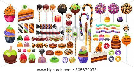 Halloween Sweet Treats Set. Candies And Snacks. - Hard Candy, Chocolate Egg And Bar, Candy Cane, Lol