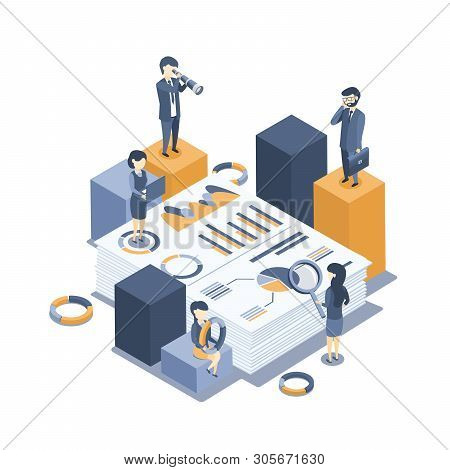 Isometric Vector Illustration. The Concept Of Business Auditing. Analysis Of Statistics, Management,