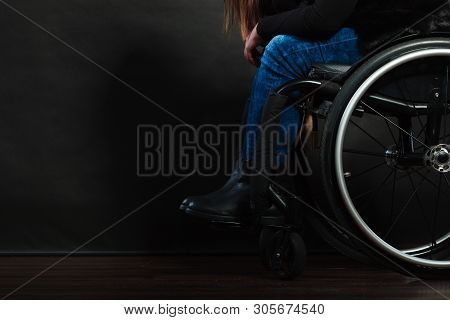 Disease Disability Paralysis Handicap Health Concept. Legs Of Disabled Person. Crippled Female Sitti