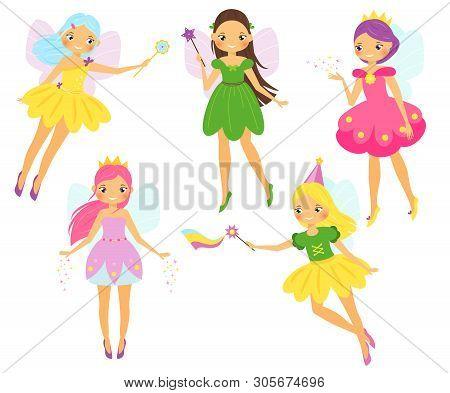 Cute Fairy. Cartoon Winged Fairy Princess Flapping Magic Wands. Pixie, Elf Girl Characters Set