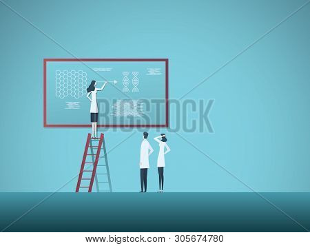 Science Research Vector Concept With Woman Explaining Nanotechnology And Dna To Colleagues. Symbol O