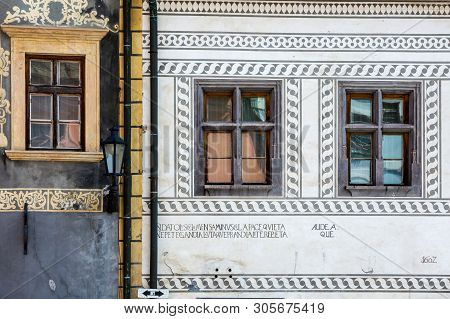 Banska Bystrica, Slovakia - August 07, 2015: Detail Of The Old Decorative Houses In Banska Stiavnica
