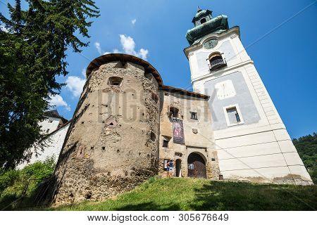 Banska Stiavnica, Slovakia - August 06, 2015: Main Entrance To The Old Castle In Banska Stiavnica, S
