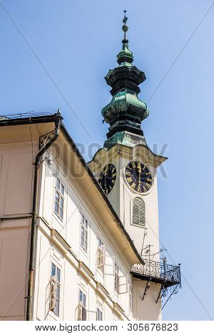 Banska Bystrica, Slovakia - August 07, 2015: Detail Of The One Of Clock Towers In Banska Bystrica, S