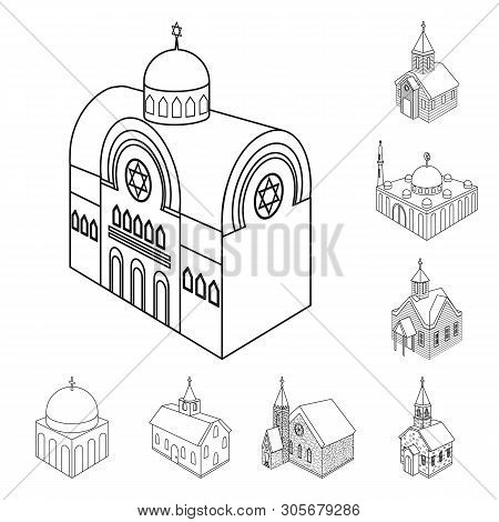 Vector Design Of Architecture And Building Sign. Collection Of Architecture And Clergy Stock Vector