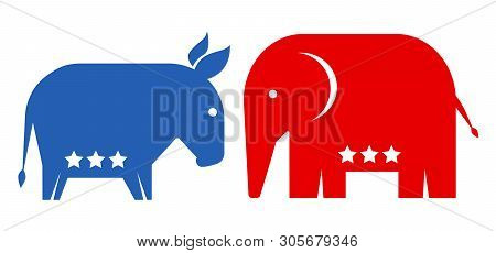 Vector Animals Donkey And Elephant. Republican And Democrat Political Parties Usa. American Politica