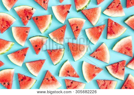 Watermelon Pattern. Red Watermelon On Blue Background. Summer Concept. Flat Lay, Top View, Copy Spac