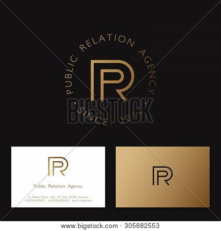 P And R Gold Monogram. P, R Logo. Linear Monogram On A Different Background. Identity, Business Card