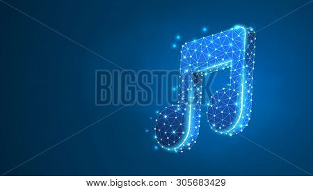 Music Note, Melody Symbol. Polygonal Technology Concept Of Healthcare, Cardio Check. Abstract, Digit