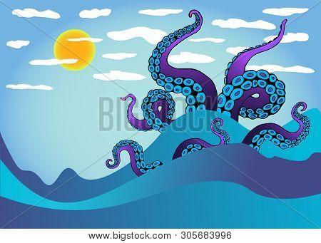 Octopus Tentacle In Sea Waves. Underwater Ocean Monster Kraken. Cartoon Japanese Squid Cuttlefish Ca