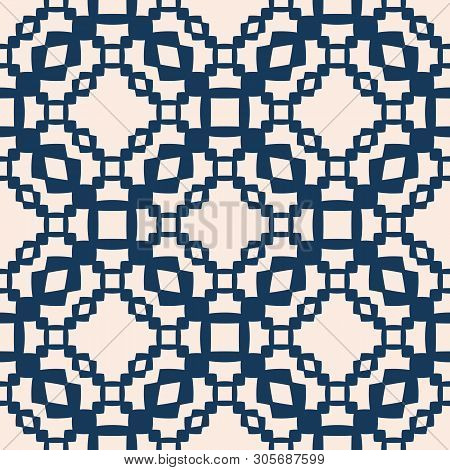 Vector Seamless Pattern With Small Geometric Shapes, Chains, Grid, Net, Lattice, Repeat Tiles. Elega